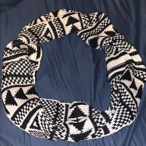 Accessories - Black Aztec knitted scarf